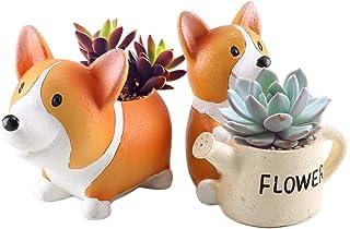 Anpatio Mini Resin Animal Plant Pot Adorable Carton Corgi Succulent Planter Desktop Flowerpot Fairy Garden Home Garden Dec...