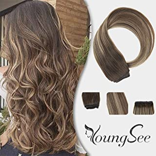 YoungSee 18inch One Piece Hair Extensions Clip in Human Hair Dark Brown Fading to Caramel Blonde with Dark Brown 3/4 Full Head Dip Dyed Clip on Human Hair Extensions 70G