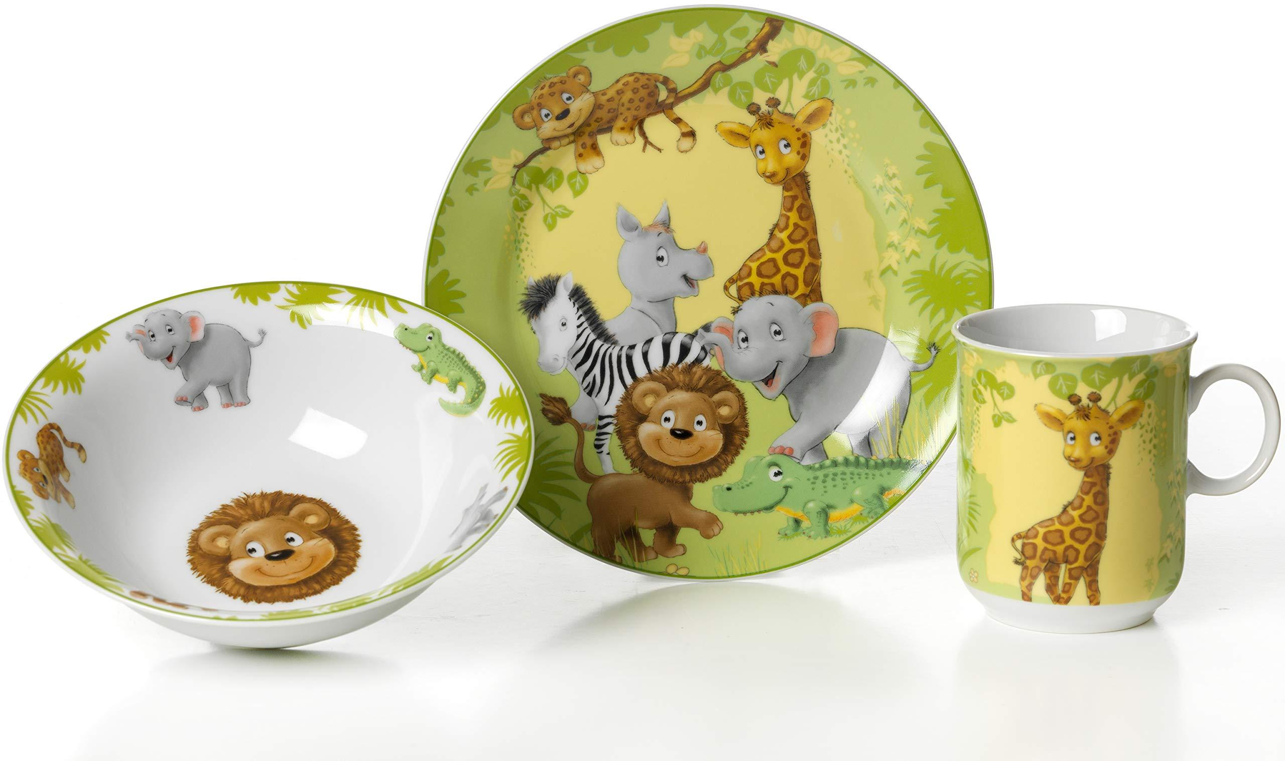 Ritzenhoff & Breker 006940 - Servicio de Mesa Infantil (3 Piezas: Plato, Cuenco y Taza), diseño de Animales de la Jungla: Amazon.es: Hogar