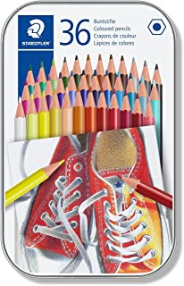 Metal case containing 36 coloured pencils in assorted colours - 2725514750613