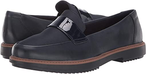 Navy Leather/Textile Combi