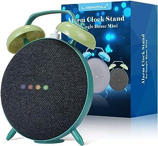 LANMU Alarm Clock Stand for Google Home Mini and Nest Mini (2nd Gen),Retro Alarm Clock Case Mount Accessories (Green)