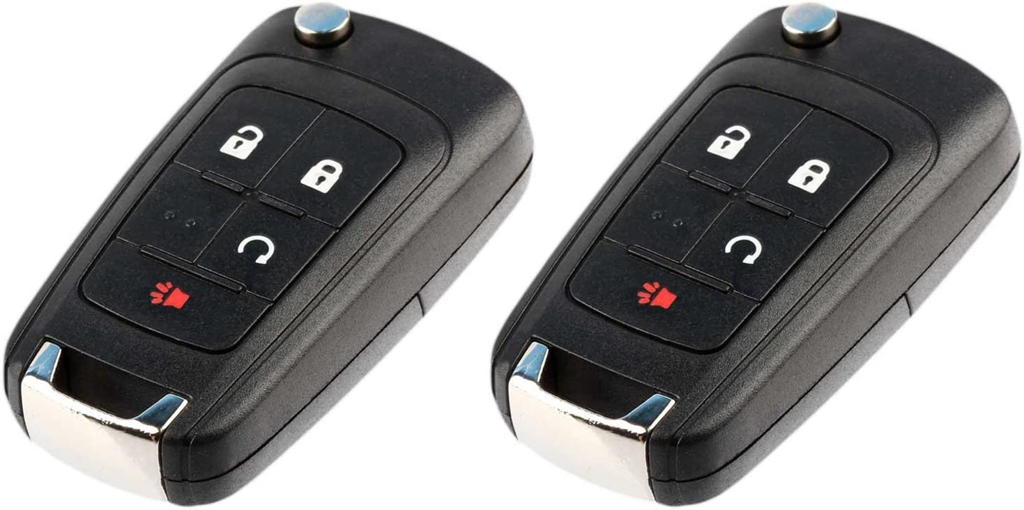 Key Fob Keyless Entry Remote Flip Shell Case /& Pad fits Chevy 2010-2017 Equinox 2012-2017 Sonic//GMC 2010-2017 Terrain Set of 2