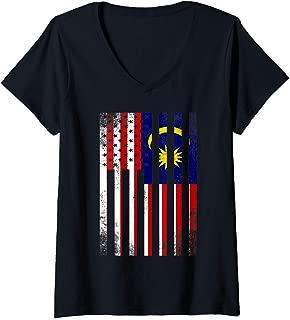 Womens Half Malaysian Flag | Vintage American Inside Me USA Gift V-Neck T-Shirt