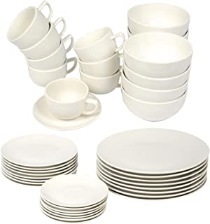 alpina Vaisselle – Service de table 40 pièces – 8 personnes – Porcelaine – Avec assiettes, assiettes à dessert, bols, souc...