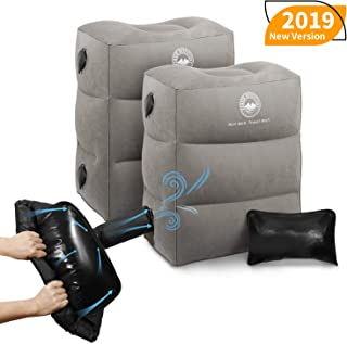 UPGRADED WITH PUMP Inflatable Travel Foot Rest Pillow | Kids Airplane Bed to Sleep | Adjustable Height Leg Pillow | Best Kids Travel Accessories for Air, Car, Train (2, Grey with Pump)