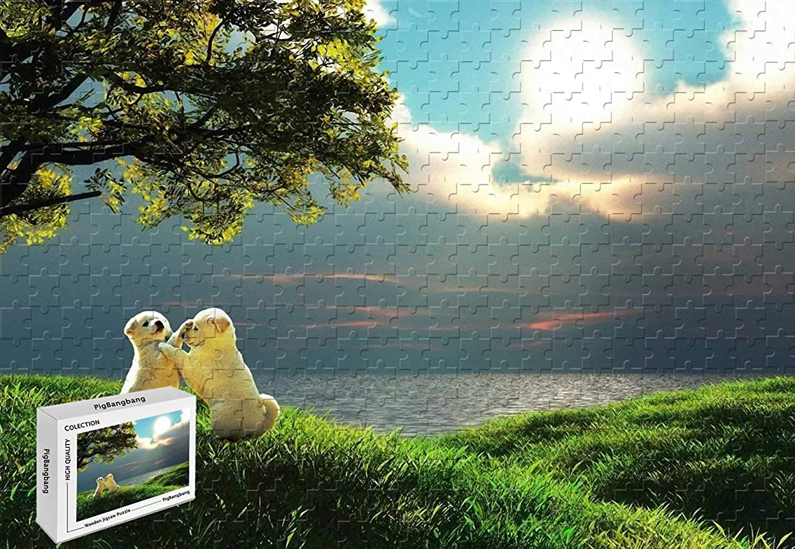500 Piece Jigsaw Puzzle - Puppes Enjoying Nature Wood-Material,20.6 X 15.1 Inch