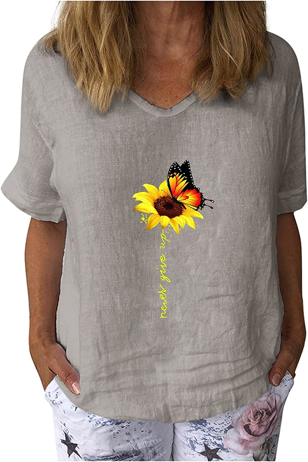 Womens Workout Tops,Summer Plus Size V Neck Short Sleeve T Shirts Casual Sunflower Butterfles Printed Loose Tee Blouses
