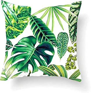 Vevice 1pièce Tropical Feuilles Vertes Taie d'oreiller