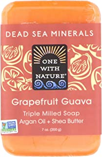 One With Nature Grapefruit Guava Triple Milled Dead Sea Bar Soap, 7 Ounce - 1 each.