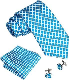 Barry.Wang Plaid Ties Check Mens Necktie Set with Handkerchief Cufflinks Classic