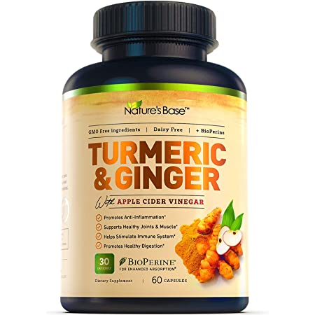 Nature's Base Turmeric Curcumin with Ginger and Apple Cider Vinegar, 95% Curcuminoids, Tumeric Supplements, Occasional Joint Relief, Inflammatory Response, Natural Plant Based Anti-Oxidant Properties