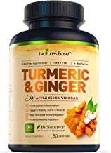 Nature's Base Turmeric Curcumin with Ginger, 95% Curcuminoids, Apple Cider Vinegar, Tumeric Supplements, Occasional Joint ...