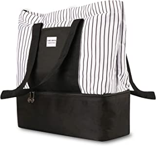 Versatile 2-in-1 Trendy Travel Totes with Cooler Insulated Ladies Utility Teacher Bags Zippered Waterproof Beach Bags