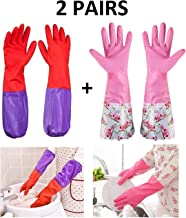 Lukzer Silicone Waterproof Long Sleeves Cleaning Gloves (Red Purple and Pink White; Standard Size; Design May Vary) -2 Pairs