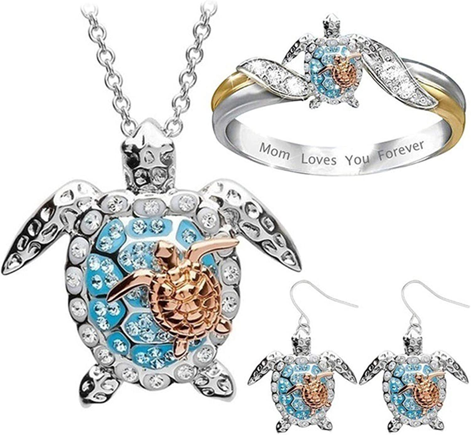 HaHawaii Ring Necklace Earring Set, Mom Loves You Forever Sea Turtle Pendant Necklace Ring Ear Hook Earrings Set - 1