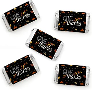 Big Dot of Happiness Give Thanks - Mini Candy Bar Wrapper Stickers - Thanksgiving Party Small Favors - 40 Count