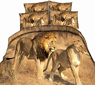 HXZB 3D Duvet Cover Set 4 Pieces Lioness and Lion Pattern Bedding Set Bed Cover Set with 1 Duvet Cover 1 Flat Sheet and 2 Pillowcases,King
