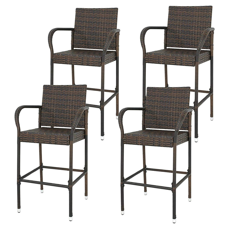 HomGarden Set of 4 Rattan Wicker Bar Stool Outdoor Backyard Barstool Chair Patio Furniture Bar Chair Set with Armrest