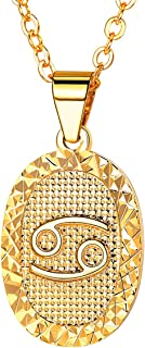 """FOCALOOK Free Engraving Constellation Zodiac Sign 12 Horoscope Astrology Women 18k Gold Plated Pendant Necklace 20-22"""""""