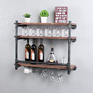 MBQQ Industrial Wine Racks Wall Mounted,Rustic Wall Shelf with 4 Stem Glass Holder,24