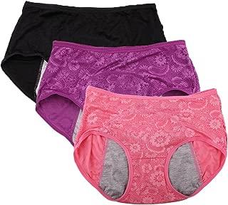 YOYI FASHION Women Menstrual Period Briefs Jacquard Easy Clean Panties Multi Pack US Size XXS-4XL/11