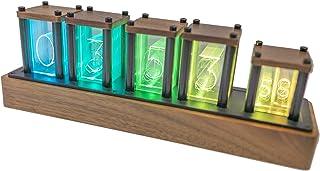 MOETATSU ニキシ管 風置き時計,クロック,おしゃれなインテリア、レトロ風木製時計、黒色(アメリカンブラックウォールナット),日本語取説付き、面白いグッズ、ギフト、プレゼント