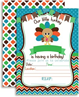 Amanda Creation Little Turkey Boy Birthday Party Invitations, 20 5
