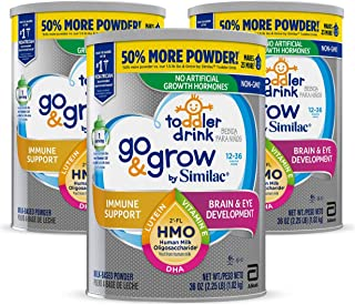 Go & Grow by Similac Toddler Drink, 3 Cans, with 2'-FL HMO for Immune Support and 25 Key Nutrients to Help Balance Toddler...