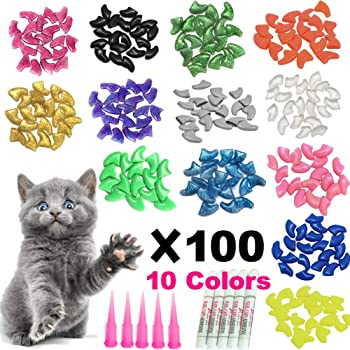 YMCCOOL 100pcs Cat Nail Caps/Tips Pet Cat Kitty Soft Claws Covers Control Paws of 10 Nails Caps and 5Pcs Adhesive Glue 5 Applicator with Instruction