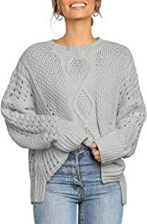 Vetinee Women's Long Sleeve Cable Knit Sweater Crewneck Side Slit Pullover Tops