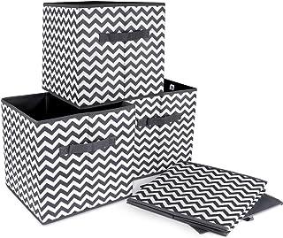 ilauke 4pcs Cube de Rangement Pliable Boîtes de Rangement Textile Non-Tissé Boîtes Tiroirs avec Poignée pour Linge Jouets ...