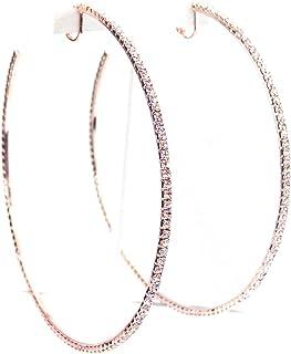 Clip-on Earrings Crystal Hoop Rose Gold Plated Rhinestone Hoops 4 inch Hoops