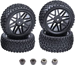 HobbyPark Front & Rear Wheels and Tires 12mm Hex Hub with Foam For Redcat Shockwave, Tornado Epx,S30 1/10 Off Road Buggy (Pack of 4)