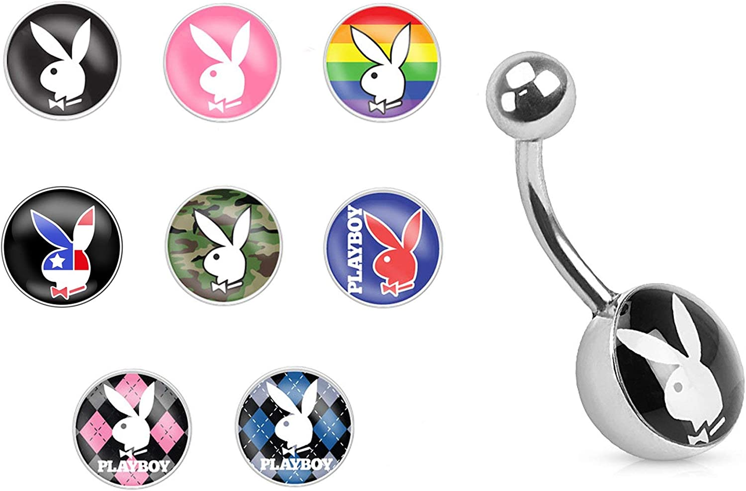 Forbidden Body Jewelry 14g Surgical Steel Playboy Graphic Inlay Belly Ring (Choose Style)