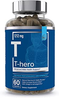 Male Health Supplement - Muscle Builder & T-Booster with DIM, Ashwagandha, Shilajit, More   T-Hero by Essential Elements -...