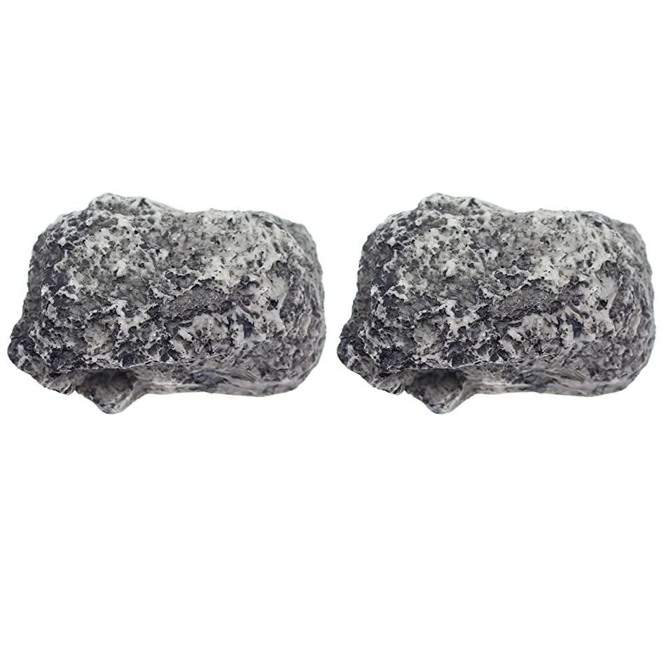 DYWISHKEY Hide a Spare Key Fake Rock, Gray Camouflage Stone Diversion Safe Looks & Feels Like Real Stone Rock, Safe for Outdoor Garden/Yard, Popular Practical Performance (2Pack)