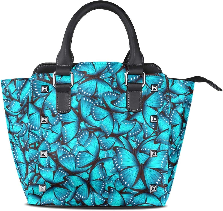 My Little Nest Women's Top Handle Satchel Handbag Beautiful bluee Butterfly Ladies PU Leather Shoulder Bag Crossbody Bag