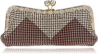 Women's Clutch Bag,Glitter Beaded Rhinestone Evening Bag Bridal Wedding Bag Handbag Prom Bag Purse,Brown,5 * 26 * 11cm