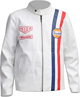 White Racing Genuine Leather Jacket for Mens