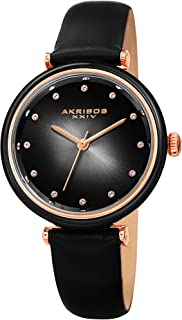 Akribos XXIV Leather Women's Watch AK1035 – Genuine Swarovski Crystal Markers on Two Tone Gradient Dial Sunray Dial – Elegant Skinny Strap