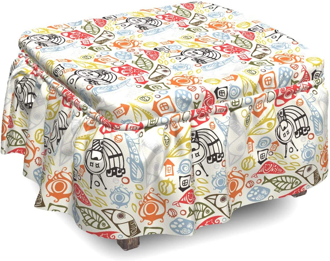 Ambesonne Funky Ottoman Cover Abstract We OFFer High order at cheap prices Image Colorful Piece 2