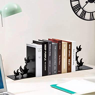SONGXIN Bookends Decorative for Shelves, Bird Book Ends Dove Style Black Metal Bookends Desk Organizer for Office Heavy Duty