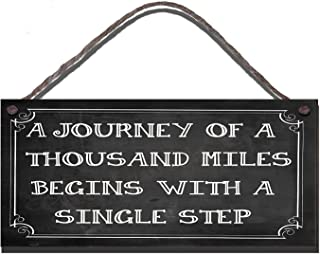 Wooden Funny Sign Wall Plaque A Journey Of A Thousand Miles Begins With A Single Step