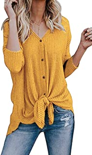Women's S-3X Tie Front Sweater Cardigan Blouses Casual Waffle Knit Thermal Tops