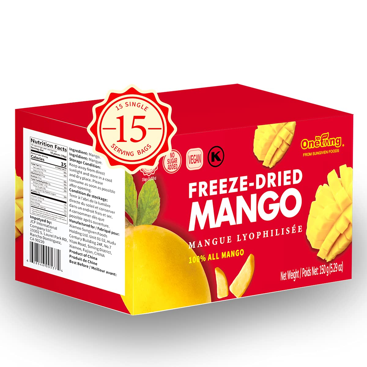 ONETANG Freeze-Dried Fruit Mango, 15 Pack Single-Serve Pack, Non GMO, Kosher, No Add Sugar, Gluten free, Vegan, Healthy Snack 0.52 Ounce