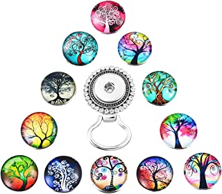 MJartoria 12PCS Interchangeable Tree of Life Snap Buttons Centerpiece Eye Glass Holding Magnetic Brooch