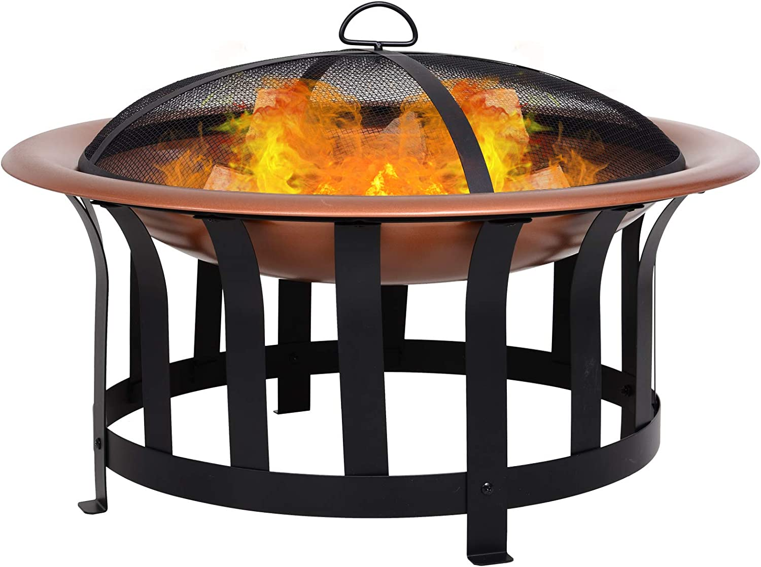 Outsunny Copper-Colored Round Metal Fire Pit – Best Powder Coated Model