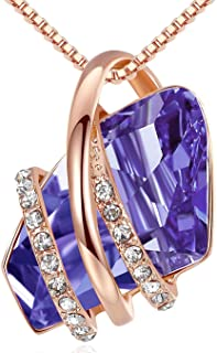 """Leafael Wish Stone Pendant Necklace with Birthstone Crystal, 18K Rose Gold Plated/Silvertone, 18"""" + 2"""""""