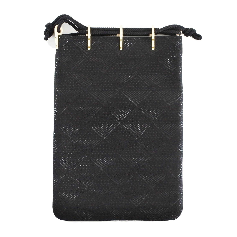 印伝 合切袋 巾着袋 大鱗柄 ブラック 黒地 黒漆